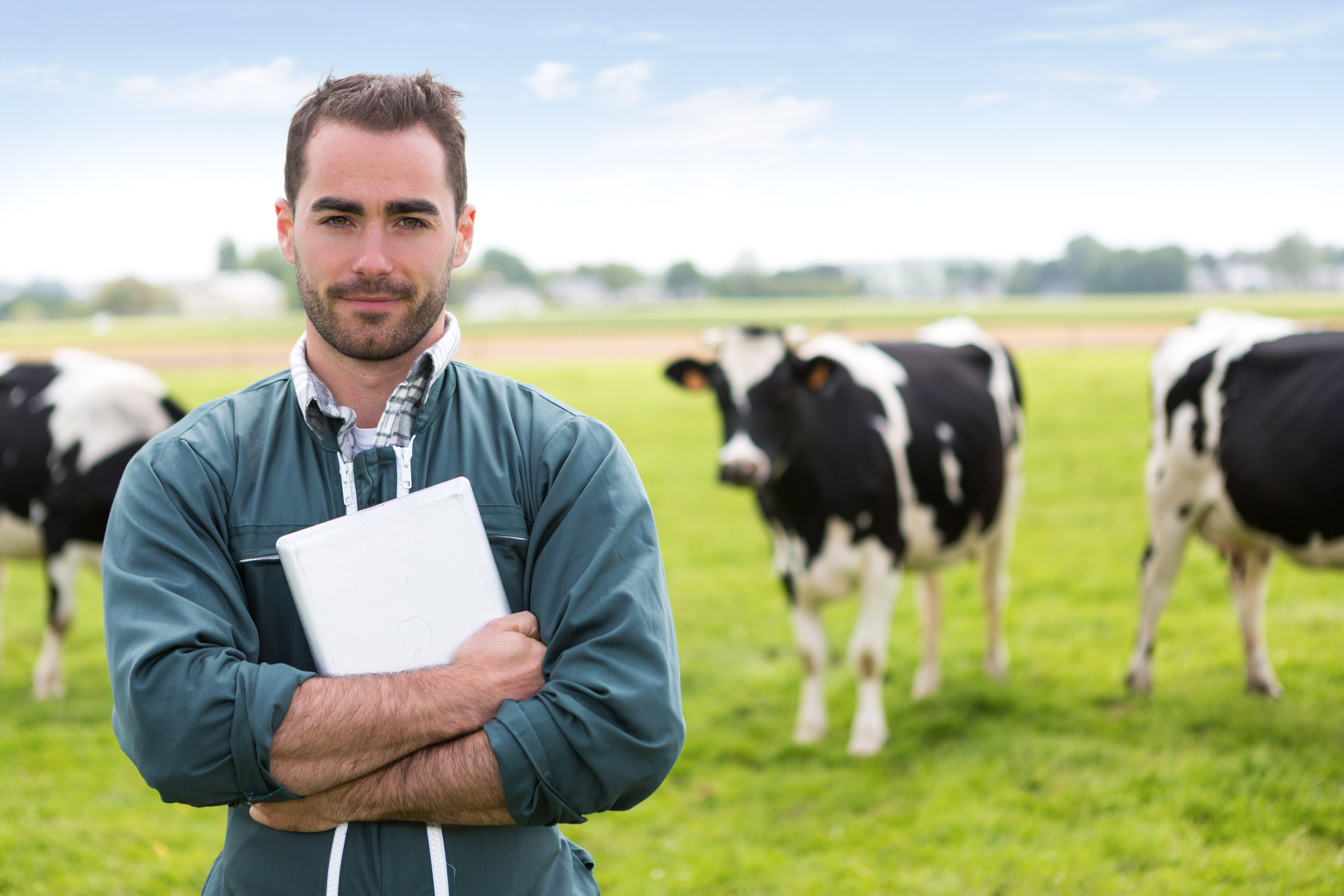 farmer with notebook